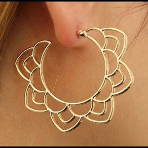 Tribal Gold and Silver Tone Floral Drop Earring